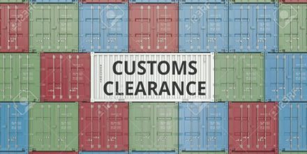 Container with text. Import or export related 3D